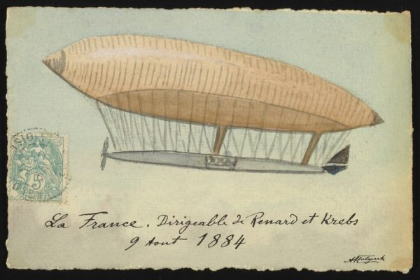 A hand-drawn illustrated depiction of the La France French army non-rigid airship first launched by French military engineer Charles Renard (1847–1905) and Arthur Constantin Krebs (1847 or 1850-1935) on August 9, 1884.