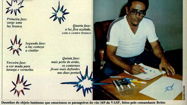 The pilot, Gerson Maciel de Britto sketch the UFO to the press what he witness on Flight 169