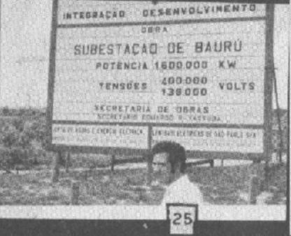 Daíldo de Oliveira in front of the sign indicating the Eletric Company substation in Bauru. [photo from SBEDV 66/68 bulletin]