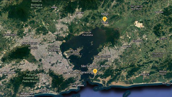 Saco de Sao Francisco distance to Mage, Rio de Janeiro, Brasil - UFO Sightings 1956