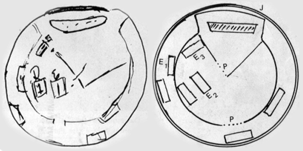 Clelia's draw from inside the ship, at left and the rendering done by the SBEDV, at the right